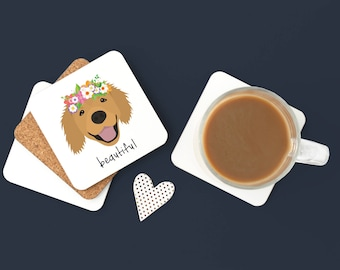 Personalized Golden Retriever Coasters, Golden Retriever Gifts, Golden Retriever Coaster, Dog Coasters, Golden Retriever Coaster (Set of 2)