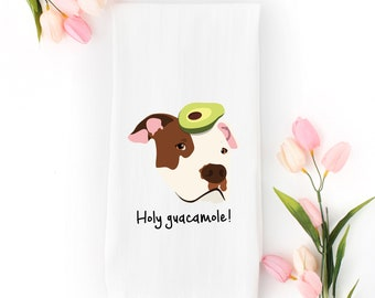 Personalized Pit Bull Tea Towel (FREE SHIPPING), 100% Cotton flour sack towel, Pit Bull with Avocado Tea Towel, Pit Bull Tea Towel, Pit Bull