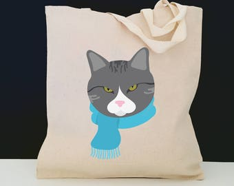 Personalized Gray Tabby Cat with Scarf Tote Bag (FREE SHIPPING), 100% Canvas Cat Tote Bag, Gray Tabby Cat Tote Bag, Cat Totes, Gray Tabby