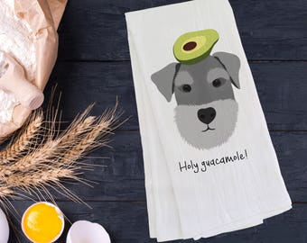 Personalized Schnauzer Tea Towel (FREE SHIPPING), 100% Cotton flour sack towel, Schnauzer Tea Towel, Schnauzer Gift, Schnauzer Dish Towel