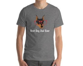 Personalized Dobermann Short-Sleeve Unisex T-Shirt, Dobermann T-shirt, Custom Dog T-shirt, Dobermann, Dog T-shirt, Best Dog Dad Ever T-shirt