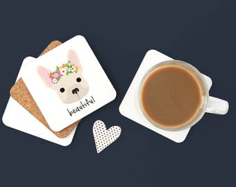 Personalized French Bulldog Coasters, French Bulldog Gifts, French Bulldog Coaster, Frenchie Coaster, Dog, French Bulldog Coaster (Set of 2)