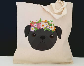 Personalized Pug with Flower Tote Bag (FREE SHIPPING), 100% Cotton Canvas Dog Tote Bag, Pug Tote, Dog Totes, Pug Gift, Black Pug Tote Bag