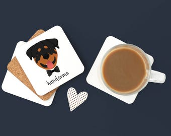 Personalized Rottweiler Coasters, Custom Rottweiler Gifts, Rottweiler, Rottweiler Coasters, Dog, Rottweiler with Bow Tie Coaster (Set of 2)