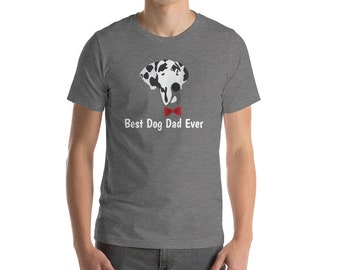 Personalized Great Dane Short-Sleeve Unisex T-Shirt, Great Dane T-shirt, Custom Dog T-shirt, Dog Dad T-shirt, Best Dog Dad Ever T-shirt