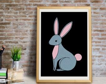 Bunny Art Print, Bunny Wall Art, Bunny Wall Decor, Bunny Giclée Print, Bunny Nursery Art, Rabbit Print, Bunny Nursery Print, Bunny Art Print
