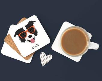 Personalized Border Collie Coasters, Border Collie Gift, Dog Coasters, Pet Coaster Set,Dog, Border Collie, Border Collie Coaster (Set of 2)