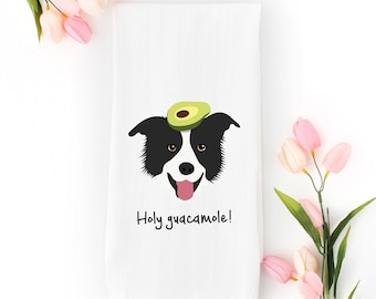 Personalized Border Collie Tea Towel (FREE SHIPPING), 100% Cotton flour sack towel, Border Collie Tea Towel, Border Collie Gifts, Dog Gifts