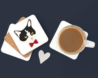 Personalized Tuxedo Cat Coasters, Tuxedo Cat Gifts, Tuxedo Cat, Cat Coasters, Black and White Cat Gifts, Cat, Tuxedo Cat Coaster (Set of 2)