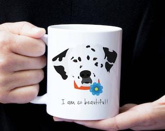 Personalized Dalmatian Mug, Customized Dalmatian Gift, Dalmatian with Flower Mug, Custom Dog Mug, Dalmatian Mug, Dog, Dalmatian Coffee Mug
