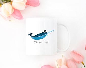 Personalized Narwhal Mug, Narwhal Coffee Mug, Narwhal Mug, Narwhal Mugs, Narwhal Cup, Narwhal Gift, Narwhal, Narwhal with Hat Mug (Blue)