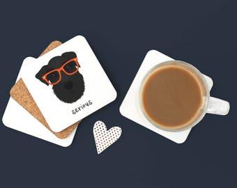 Personalized Schnauzer Coasters, Schnauzer Gifts, Schnauzer, Dog Coasters, Black Schnauzer, Dog Gifts, Black Schnauzer Coaster (Set of 2)