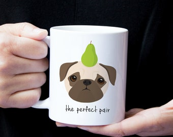 Personalized Pug Mug, Pug Coffee Mug, Pug Mug, Dog Mug, Pug with Fruit Mug, Pug Gift, Custom Pug Gift, Personalized Pug Gift, Pug Coffee Cup