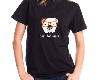 Personalized English Bulldog Short-Sleeve Unisex T-Shirt, English Bulldog T-shirt, Custom Dog T-shirt,Dog T-shirt, Best Dog Mom Ever T-shirt
