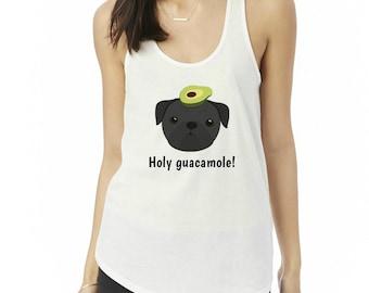 Personalized Pug Tank Top, Ladies' Shirttail Tank, Custom Dog Tank Top, Dog Tank Top for Women, Pug Tank Top, Pug T-shirt, Pug Mom Tank Top