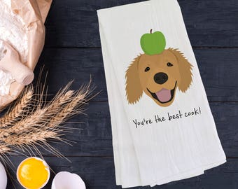 Personalized Golden Retriever Tea Towel (FREE SHIPPING), Golden Retriever Gift, Golden Retriever Tea Towel, Golden Retriever Dish Towel, Dog