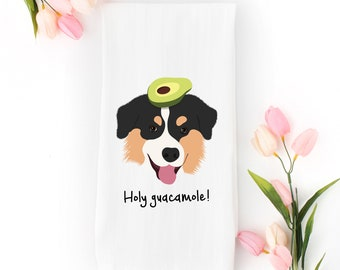 Personalized Australian Shepherd Tea Towel (FREE SHIPPING), 100% Cotton flour sack towel, Australian Shepherd Kitchen Towel, Aussie Gifts