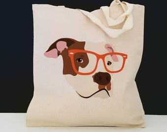 Personalized Pit Bull with Glasses Tote Bag (FREE SHIPPING), 100% Cotton Canvas Dog Tote Bag, Dog Tote, Dog, Pit Bull Gift,Pit Bull Tote Bag