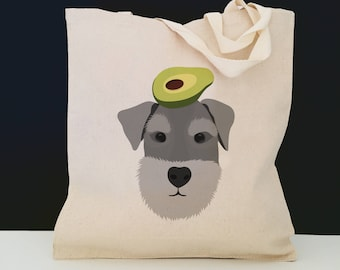 Personalized Schnauzer with Avocado Tote Bag (FREE SHIPPING), 100% Cotton Canvas Dog Tote Bag, Schnauzer Totes, Dog Totes, Schnauzer Gifts