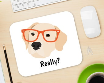 Personalized Labrador Retriever Mouse Pad, Yellow Lab Mouse Pad, Custom Dog Mouse Pad, Yellow Lab Mousepad, Labrador Mouse Pad, Yellow Lab