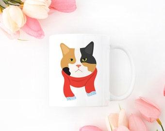 Personalized Calico Cat Mug, Calico Cat Coffee Mug, Cat Mug, Cat with Scarf Coffee Mug, Calico Cat Cup, Calico Cat Cup, Grumpy Cat Mug, Cat