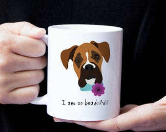 Personalized Boxer Mug, Customized Boxer Cup, Boxer with Flower Mug, Dog Mug, Boxer Coffee Mug, Custom Boxer Gift, Boxer, Boxer Coffee Mug