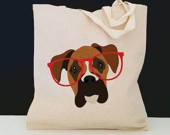Personalized Boxer Tote Bag (FREE SHIPPING), 100% Cotton Canvas Dog Tote Bag, Custom Dog Tote, Boxer Tote Bag, Boxer Gifts, Boxer, Boxer Bag