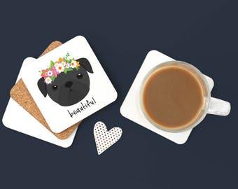 Personalized Pug Coasters, Pug Gifts, Black Pug, Pug with Glasses, Dog Coasters, Pug Puppy Gift, Pug Drinkware, Black Pug Coaster (Set of 2)
