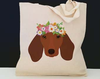 Personalized Dachshund with Flower Tote Bag (FREE SHIPPING), 100% Cotton Canvas Dachshund Tote Bag, Dachshund Tote Bag, Dog, Dachshund Gift