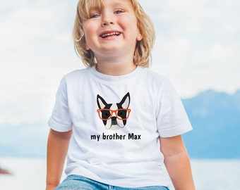 Personalized Boston Terrier Toddler T-shirt, Botton Terrier Toddler Tee, Custom Boston Terrier T-shirt for Kids, Dog Tee, Toddler Dog Tee