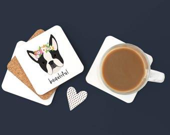 Personalized Boston Terrier Coasters,Boston Terrier Gift, Dog Coasters,Pet Coaster Set,Dog,Boston Terrier, Boston Terrier Coaster (Set of 2)