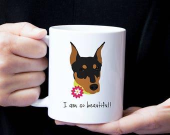 Personalized Dobermann Mug, Customized Dobermann Gift, Dobermann with Flower Mug, Custom Dog Mug, Dobermann Mug, Dog, Dobermann Coffee Mug