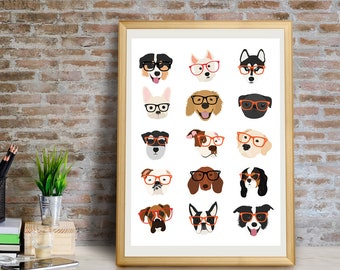 Dogs with Glasses Art Print, Dog Wall Art, Dog Wall Decor, Dog Giclée Print,Dog Art, Dog Gift, Dog Portrait, Dogs with Glasses,Dog Art Print