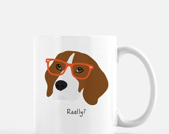 Personalized Beagle Mug, Beagle Coffee Mug, Beagle with Glasses Mug, Dog Mug, Beagle Coffee Cup, Custom Beagle Mug, Customized Beagle Mug