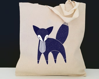 Personalized Fox Tote Bag (FREE SHIPPING), 100% Cotton Canvas Fox Tote Bag, Fox Tote Bag, Fox Totes, Fox, Fox Gift, Custom Fox, Fox Tote Bag