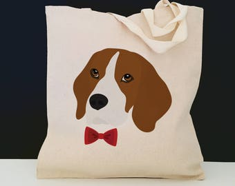 Personalized Beagle Tote Bag (FREE SHIPPING), 100% Cotton Canvas Dog Tote Bag, Beagle Tote, Custom Dog Gifts, Beagle Gift, Beagle Tote Bag
