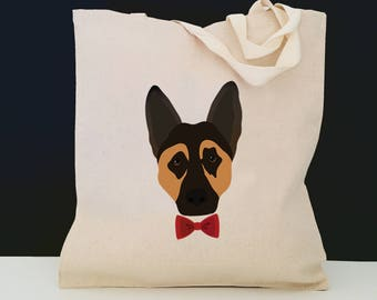 Personalized German Shepherd Tote Bag (FREE SHIPPING), 100% Cotton Canvas Dog Tote Bag, Custom Dog Tote,German Shepherd Bag, German Shepherd