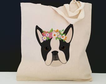 Personalized Boston Terrier with Flower Tote Bag (FREE SHIPPING), 100% Cotton Canvas Dog Tote Bag, Boston Terrier Tote, Boston Terrier Gift