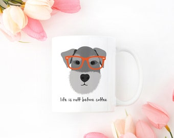Personalized Schnauzer Mug, Schnauzer Coffee Mug, Schnauzer Mug,Glasses Dog Mug, Gray Schnauzer Mug, Hipster Dog Coffee Cup, Schnauzer Gifts