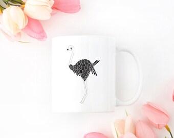 Personalized Ostrich Mug, Customized Ostrich Mug, Personalized Ostrich Gift, Ostrich Gifts, Bird Mug, Ostrich Cup, Bird, Ostrich Coffee Mug