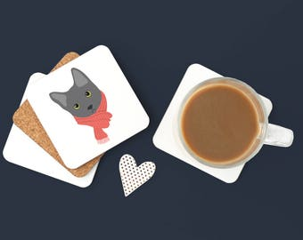Personalized Gray Cat Coasters, Gray Cat Gifts, Custom Gray Cat Gift, Custom Cat Coasters, Gray Cat Drinkware, Gray Cat Coaster (Set of 2)