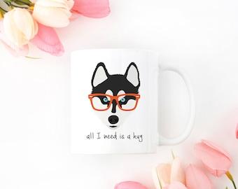 Personalized Husky Mug, Husky Coffee Mug, Siberian Husky Coffee Mug, Siberian Husky Mug, Siberian Husky with Glasses, Dog, Husky Coffee Cup