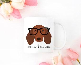 Personalized Dachshund Mug, Dachshund Mug, Brown Dachshund Mug, Dachshund Coffee Mug, Wiener Dog Mug, Dachshund Coffee Cup, Sausage Dog Mug