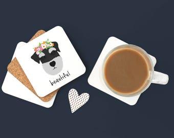 Personalized Schnauzer Coasters, Schnauzer Gifts, Schnauzer, Dog Coasters, Sliver Schnauzer, Dog Gifts, Silver Schnauzer Coaster (Set of 2)