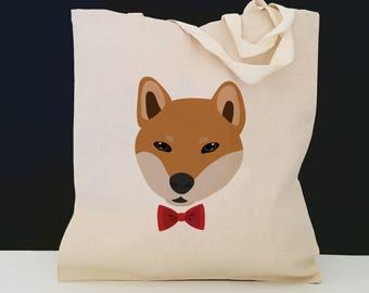 Personalized Shiba Inu Bag (FREE SHIPPING), 100% Cotton Canvas Dog Tote Bag, Custom Dog Tote, Shiba Inu Gifts, Shiba Inu, Shiba Inu Tote Bag