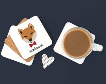 Personalized Shiba Inu Coasters, Custom Shiba Inu Gifts, Shiba Inu, Shiba Inu Coasters, Shiba Inu, Shiba Inu with Bow Tie Coaster (Set of 2)