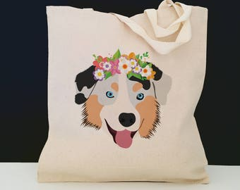 Personalized Australian Shepherd with Flower Tote Bag (FREE SHIPPING), 100% Cotton Canvas Dog Tote Bag, Australian Shepherd Tote, Dog Tote