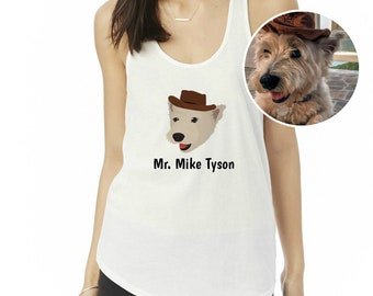 Custom Dog Tank Top, Personalized Dog Tank Top, Ladies' Shirttail Tank, Customized Dog Tank Top, Custom Pet Portrait Cloth, Dog Mom Tank Top