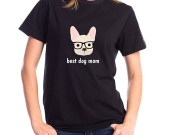 Personalized French Bulldog Short-Sleeve Unisex T-Shirt, French Bulldog T-shirt, Custom Dog T-shirt, Dog T-shirt, Best Dog Mom Ever T-shirt