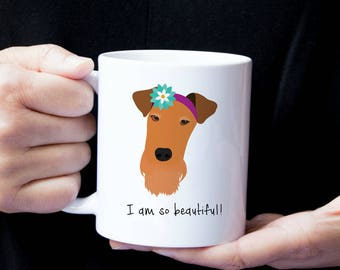 Personalized Airedale Terrier Mug,  Airedale Terrier Cup, Airedale with Flower Mug, Dog Mug, Customized Airedale Mug, Airedale Terrier Mug